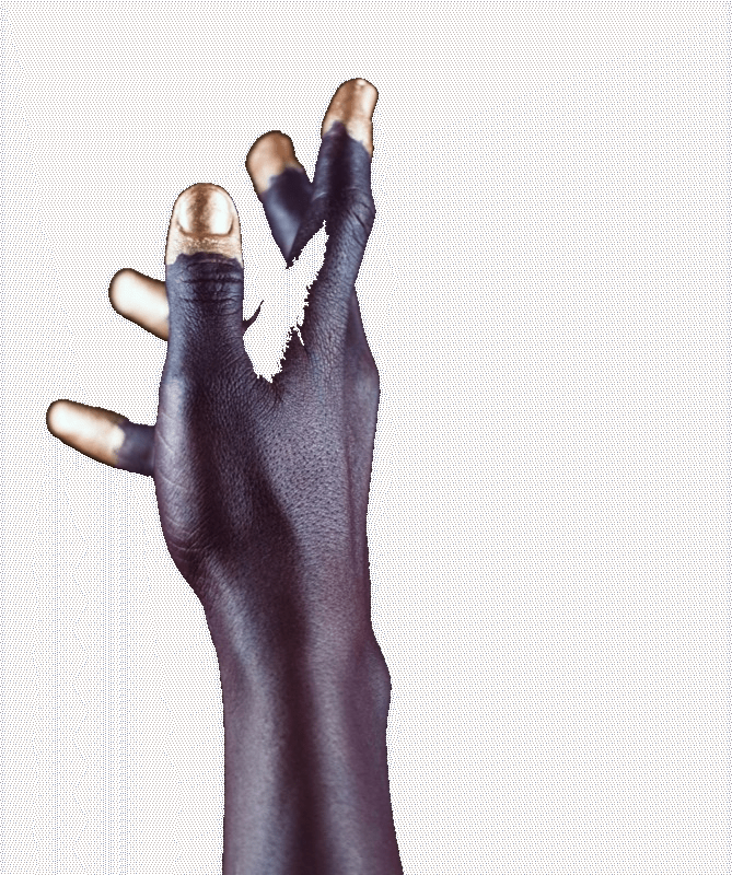 outstretched black hand with gold tipped finger