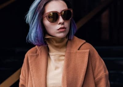 White woman with purple hair