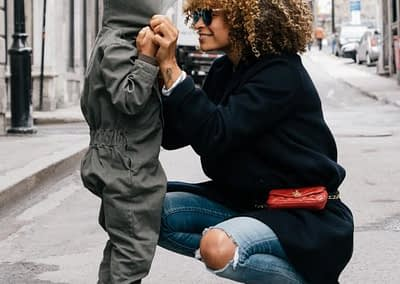 Young black mom with her child
