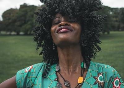 exuberant black woman with gorgeous hair